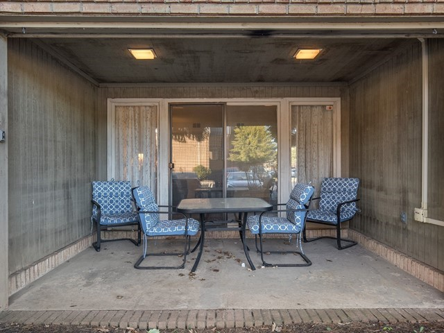 North Brunswick Temporary Housing patio with outdoor furniture